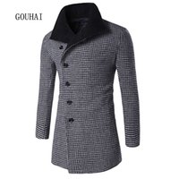 Wholesale Dotted Trench - Wholesale- 2016 New Autumn Mens Jackets And Coats Chaqueta Hombre Winter Man Wool & Blends Wool Coat Men Casaco Masculino Trench Coat Men