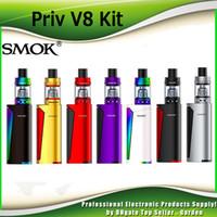 Wholesale Smok Dual Coils - Original Smok Priv V8 Starter Kits With 3ml TFV8 Baby Beast Tank 60W Priv V8 TC Vape Mod Baby M2 Coil Dual LED indicators 100% Genuine