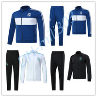 Wholesale Track Suits Jackets - 17 18 Real Madrid Soccer Tracksuit Jacket Suit Track Suit 2017 2018 Ronaldo Jogging Football Tops Coat Pants Adults jacket Training kit