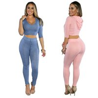 Wholesale Summer Hood Set - Women Casual Spring Summer Elastic With Hood Sexy Sports Sets Solid Color Mid-Sleeve Skinny Outfit Fashionable Stylish Bodycon Slim Set