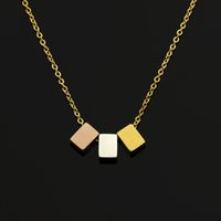 Wholesale Geometric Choker - Wholesale 10Pcs lot 2017 New Fashion Stainless Steel Jewelry Pendant Coloured Geometric Three Squares Gold Chains Choker Necklaces For Women