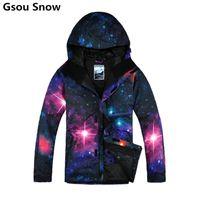 Wholesale Snowboard Jackets Brands - Wholesale- Winter Gsou Snow brand ski jackets men snowboard skiing snow suits chaqueta esqui hombre veste ski homme ski wear wolf