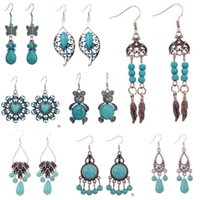 Wholesale Wholesale Indian Earings - A variety of different styles style of turquoise earrings Fashion Earrings Women's Bohemia Style Dangle Chandelier Hoop Earings CB086