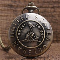 Wholesale Womens Plastic Watches - Wholesale- New Fashion Never Forget United States VETERAN Pocket Watch With FOB Chain Retro Bronze Mens Womens Quartz Pocket Watch Gifts