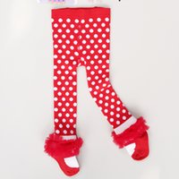 Wholesale Wholesale Red Baby Socks - Autumn Baby Girls PP Leggings Pants red Polka Dot New Year Christmas Socks Tights Gauze Lace Pantyhose For Girl 6pcs lot 1-7T A5883