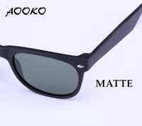 Wholesale 52mm Uv - AOOKO Hot Sale New Classical Sun Glasses matte black TORTOISE frame Glass UV protection G15 Green BLUE RED GREEN lens Sunglasses 52mm 55mm