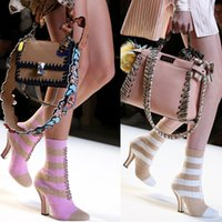 Wholesale Stiletto Heel Ankle Boots Pink - Elastic Stretch Ankle Boots For Women Pink Green Nude Stiletto High Heels Pumps Striped Sock Boots Lace Up Ladies Casual Dress Shoes Botas