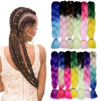rote weiße blaue haarverlängerungen großhandel-ZF Beliebte Crochet Braids 24 Zoll 100G Haarzopf In Bundles Für Schwarze Frauen Bunte Afroamerikaner Mode Heißer Verkauf