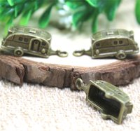 Wholesale Antique Travel - 10pcs-Camper Trailer charms, Antique Bronze Travel Trailers Charm pendants 27x10x10mm
