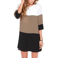Wholesale Tunic Shift Dress - Vintage spring women dress Contrast Color Blocks Chiffon Half Sleeves Shift Tunic plus size women clothing