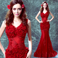 Wholesale Pear Wine - Wine Red Mermaid Evening Dress with Appliques Beading 2017 Sleeveless V Neck Sexy Lace Long Party Prom Dress Elegant Formal Dress