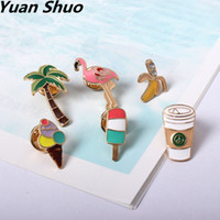 Wholesale Christmas Tree Fun - Wholesale fashion accessories manufacturer Summer amorous feelings Coconut trees flamingos coffee cup fun pin brooch badges