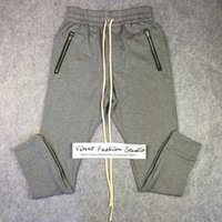 Wholesale Best quality winter fear of god fog Drawstring Sweat pants zipper classic kanye west cotton jogger