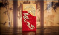 Wholesale Dragon Phoenix Wedding - Wholesale- 1sample New embossed bronzing traditional Chinese dragon&phoenix wedding invitation card with envelops