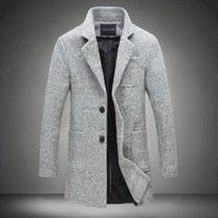Wholesale Male Wool Clothes Fashion - Wholesale- 2017 New Long Trench Coat Men Brand Clothing Winter Fashion Mens Overcoat 40% Wool Thick Grey Trench Coat Male Jacket Plus M-5XL