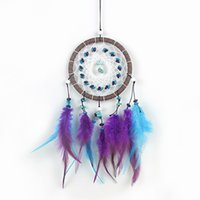 Wholesale Turquoise Purple Decorations - Antique Imitation Enchanted Forest Dreamcatcher Gift - Handmade Purple Blue Turquoise Feather Wall Hanging Decoration Ornament Free Shipping