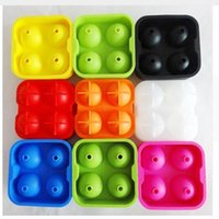 Molde de Silicato Ice Cube Ball 4 Hole Drinking Wine Tray Brick Round Maker Molde Molde Party Bar Silicone Ice Hockey Maker Frete Grátis