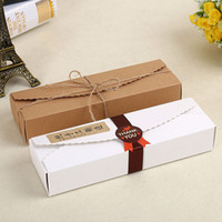 Wholesale Cardboard Package Cake - 23*7*4cm Cardboard Box Macaron Biscuit Pancake Packaging Kraft Paper Boxes Jewelry Cake Gift Boxes Free Shipping ZA3862