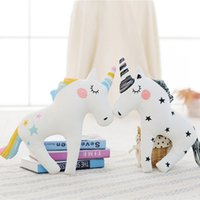 Wholesale kids decorative pillows - Cute Unicorn Horn Sleep Pillow Baby Kids Plush Toy Sofa Car Cushion Decorative Pillow Children Plush Doll