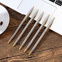 Wholesale Black Steel Rod - Business Stainless Steel Metal Ball-point Pens Advertisement Rod Rotating Metal Ballpoint Pen Commercial Ballpoint Pen Gift Stationery