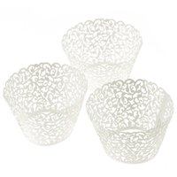 Envolturas De Muffins Al Por Mayor Baratos-Al por mayor- Mi casa 100 piezas ¡Nuevo! Little Vine Lace Laser Cut Cupcake Wrapper Liner para hornear Cup Muffin, jun 23