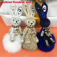 Wholesale Cute Doll Lovers - Cute Mini Genuine Rabbit Fur Pom Pom Ol' Patch Key Chain Women's Toy Doll Bag Car Key Ring cute Keychain Jewelry Gift