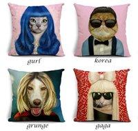 Wholesale Lady Gaga Cosplay - Dog Cosplay Lady Gaga Michael Jackson Cushion Covers Stug Kiwi Bird Pillow Cases Dolphin Star Fish Custom Wholesale Pillows Decor