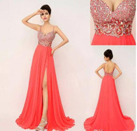 Wholesale Elegant Dressess - A-Line Spaghetti Coral Elegant Split Evening Dressess Sweet Sparkle Chiffon sweep train Holiday Party Gowns Sequins Celebrity Dress