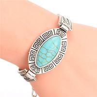 Wholesale Cheap Tibetan Jewelry - Wholesale-Cheap Fashion Jewelry Tibetan Sliver Plated Turquoise Charm Bangle bracelet for men womem