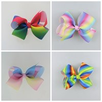 Wholesale Xmas Ribbon Wholesale - 10pcs jojo Xmas Romantic 9cm Pastel flora ombre Rainbow ribbon hair bows Alligator clips Dance hair bobbles Accessories HD3480