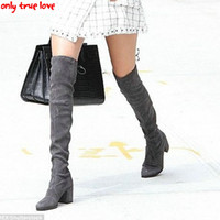 Wholesale thigh high wedges boots - Wholesale-ONLY TRUE LOVE leather Women Stretch Slim Thigh High Boots Sexy Fashion Over the Knee Boots High Heels Woman Shoes