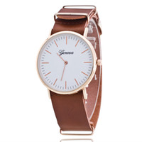 Wholesale Hand Watch Geneva - Fashion mens geneva leather watch 2017 wholesale men rose-gold dial casual sport wrist watch no second hand retro vintage watch