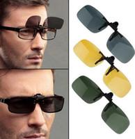 Wholesale Clip Flip Up Glasses - Sunglasses 3 colors Clip Unisex Ultra-light Lens On Sunglasses Day Night Vision Clip-on Flip-up Lens Driving Glasses Sunglasses KKA1755