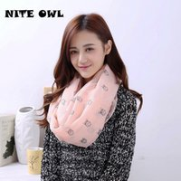 Wholesale Owl Print Scarves - 2017 New Top Fashion Band Owl Printed Scarf Hand feel Soft And Large Size Women's Loop Scarves Spring-summer For Female RO1297