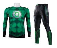 The Avengers Green Lantern Compression Suit Fitness Workout Long Sleeve 3D Print Shirt Sportswear Leggings Bodybuilding Running Sets