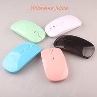 Wholesale Ultra Slim Wireless Mouse - Factory Wholesale Super Ultra Slim USB 2.4G Wireless Mouse Colorful MIni Optical Mouse 50pcs lot