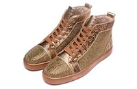 Wholesale Scale Height - Luxury Brand Red Bottom Sneakers brown Suede with Spikes Casual Mens Womens Shoes Fish scales are decorated Trainers Footwear Flat Shoes