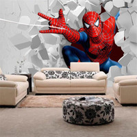 Wholesale Kids Rooms Themes - Spiderman cartoon theme large murals boy the wallpaper of bedroom the head of a bed children room KTV bars superman wallpaper