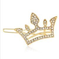 cristal mini coroa de cabelo venda por atacado-12 PCS Moda Jóias Cabelo Prata Banhado A Ouro de Cristal Rhinestone Cabelo Pin Clip Diamante Cabelo Barrette Mini Meninas Coroa Tiara