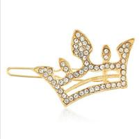 mini corona de cristal de pelo al por mayor-12 piezas de joyería de pelo de moda de plata chapado en oro Crystal Rhinestone Pin de pelo Clip Diamante Barrette del pelo Mini niñas corona Tiara