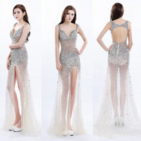 Wholesale Sexy Shinning Party Dress Sequins - Silver Shinning V Neck Prom Dresses Sexy Side Split Open Back See Through Evening Gowns Sequins Beaded Straps Formal Party Dress