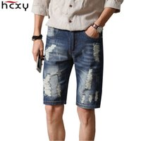 Wholesale Men Jeans Shorts Wholesale - Wholesale- Men Shorts 2017 New Summer high quality Brand Casual Knee Length Short Masculina Hole Jeans Shorts For Men