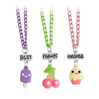 Wholesale long best friend necklaces - 3pcs set Cherry Ice cream Pudding Cake Long Necklaces & Pendants Sweater Chain Friendship Jewelry Gift BFF Best Friends Forever
