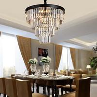 moderner schwarzer pendelleuchte kronleuchter großhandel-Amerikanische schwarze Eisenkunst Kristallleuchter Kronleuchter moderne Wohnzimmer hängende Beleuchtung Schlafzimmerlampe, rauchen graue Kristalllampe