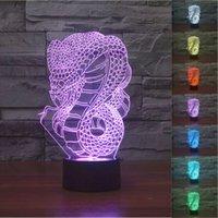 Wholesale Snake Led Lights - 2pc 2017 Cool Creative Xmas Gift Snake Cobra 3D Night Light Touch Button Colors Change LEDTable Lamp Gift Mix Order Custom Any LED Light