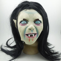 Creepy Scary Toothy maschere Latex Halloween Zombie Ghost Mask Pazzo di emulsione spaventosa con i capelli per adulti / bambini