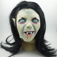 Wholesale Ghosts Children - Creepy Scary Toothy Masks Latex Halloween Zombie Ghost Mask Scary Emulsion Skin With Hair For Adult Children