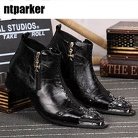 Wholesale boot irons - Handmake Italian Style Fashion Leather Ankle Boots Men Zipper Pointed Iron Toe Men's Dress Boots, Big size 46