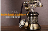 Wholesale Vintage Rotary Dial Telephones - ANSEL-AN3201 Mechanical ringtones Rotary dial European antique vintage Hands-free telephones