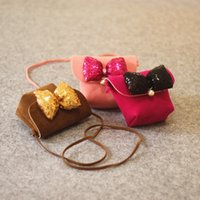 Wholesale Changing Bag Designer - Cute Girls Princess Bags Bowknot Flower Sequin Children designer handbags Fashion Bow Pearl Kids Messenger Bag Baby Change Purse C2349